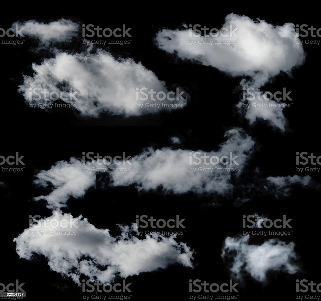 Many clouds on black background stock photo