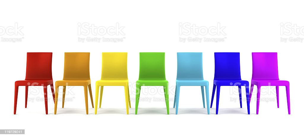 many color chairs isolated on white background royalty-free stock photo