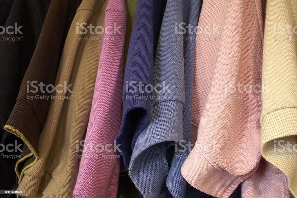 Many color polo t-shirts stock photo