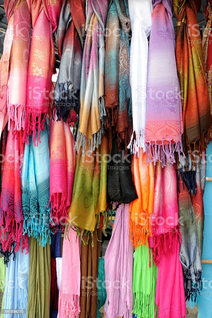 Many color scarves royalty-free stock photo