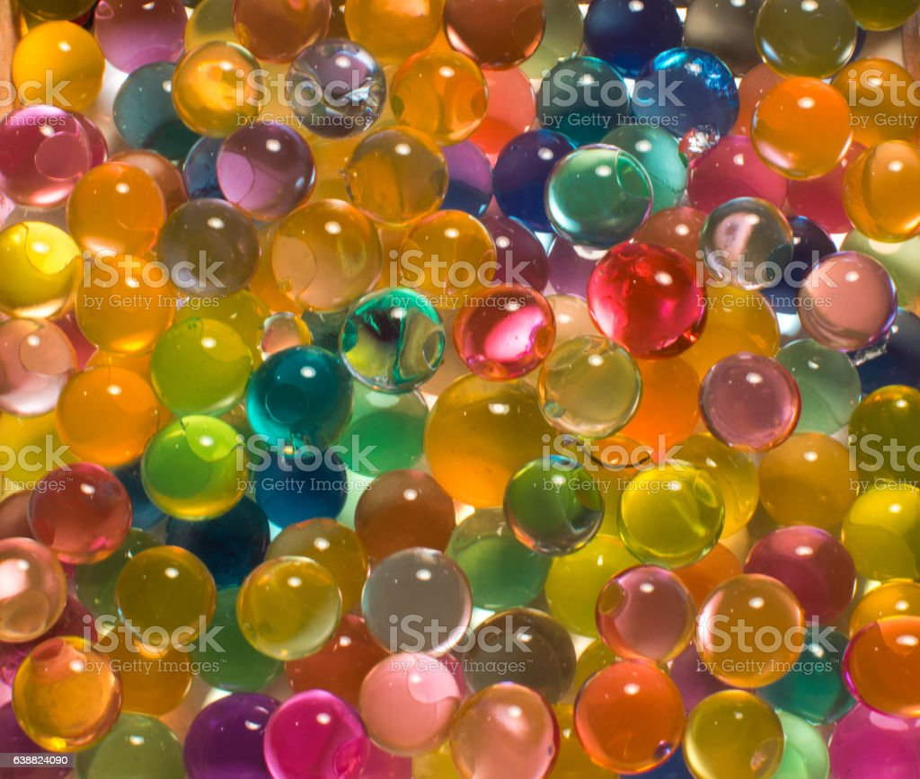many colored hydrogel beads stock photo