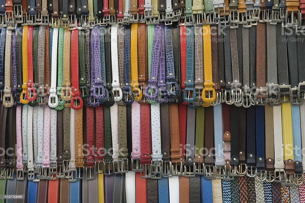 many colored leather belts royalty-free stock photo