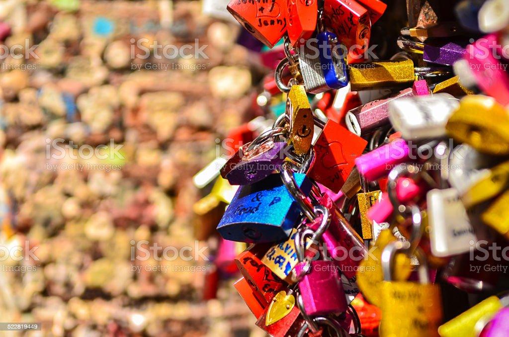 many colored locks of love stock photo