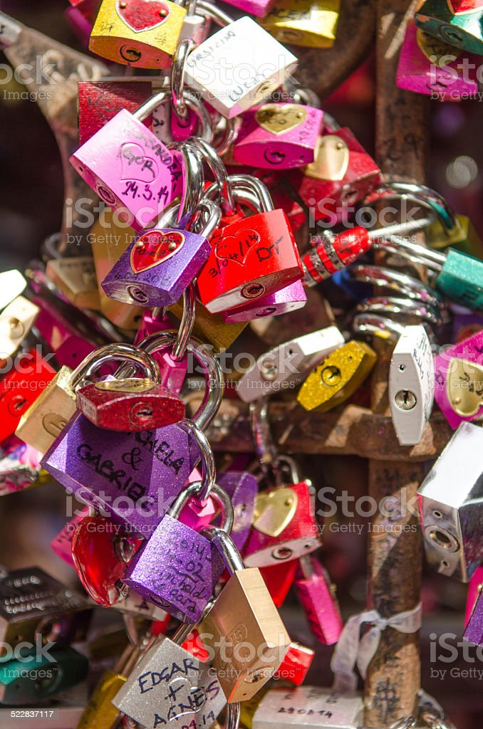 many colored locks of love stock photo
