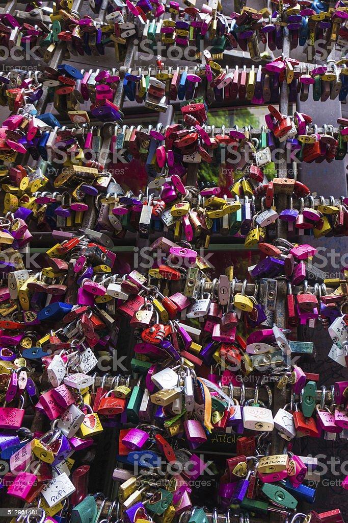 many colored locks stock photo