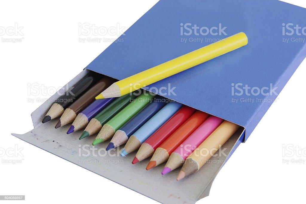 Many colored pencils in carton box stock photo
