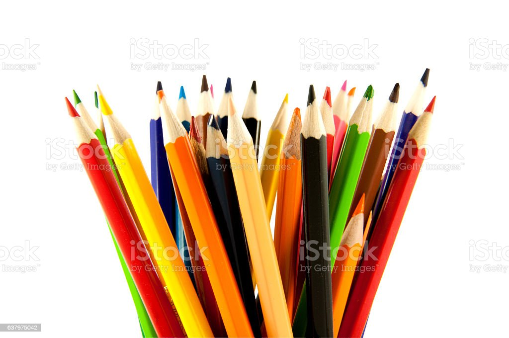 many colored pencils in vertical position stock photo