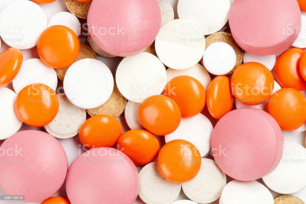 Many Colorful Medicines. Background Or Texture stock photo