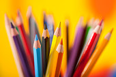many colorful pencils