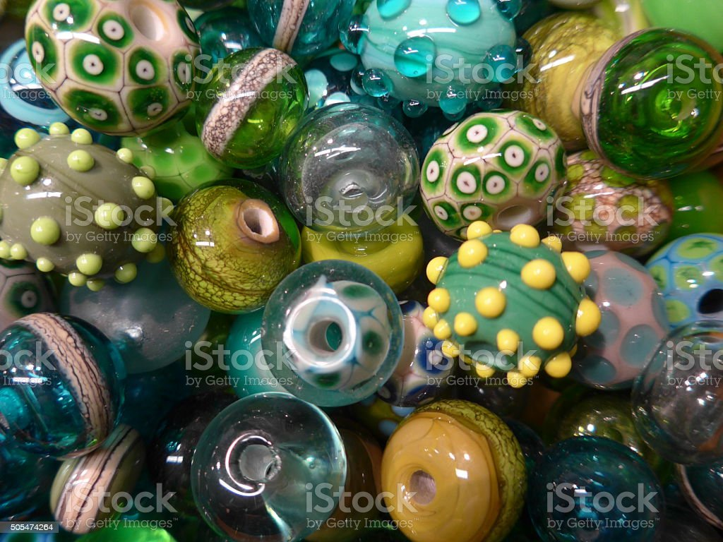 Many colorfull glass beads stock photo