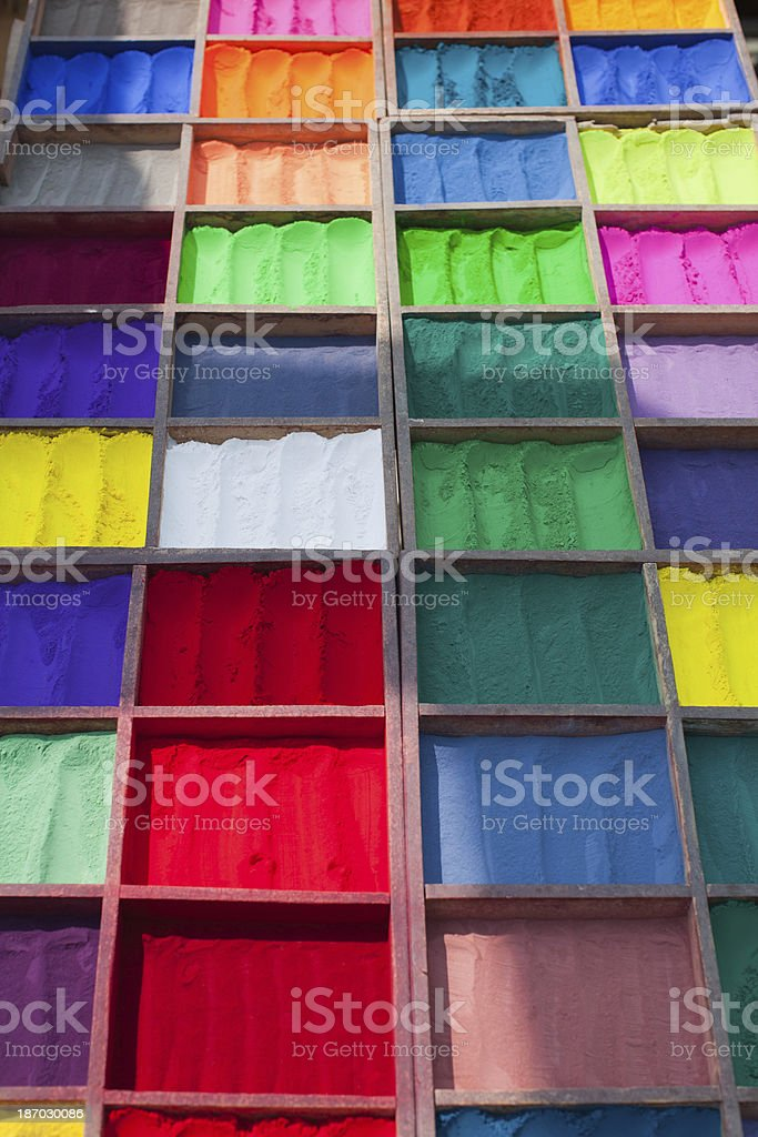 Many colors of powder paint stock photo