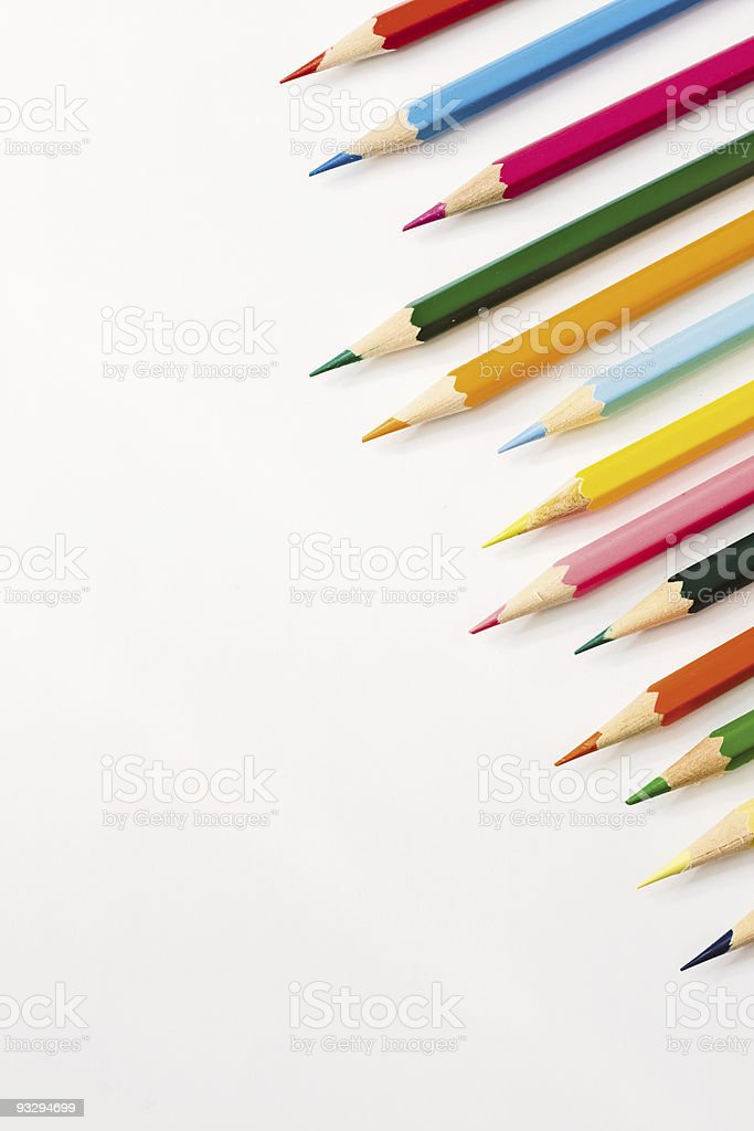 Many colour pencils isolated on white royalty-free stock photo