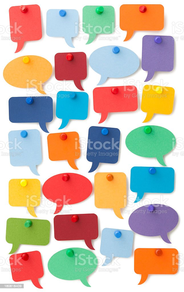 Many colourful speech bubbles isolated on white surface stock photo