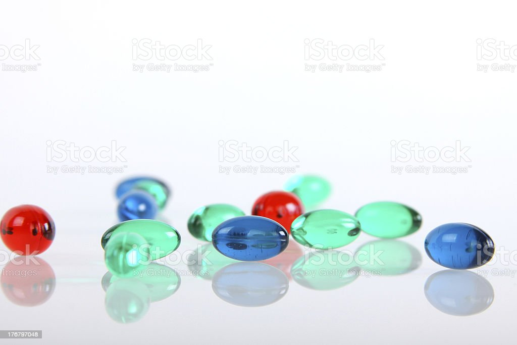 Many colours of gel pills royalty-free stock photo