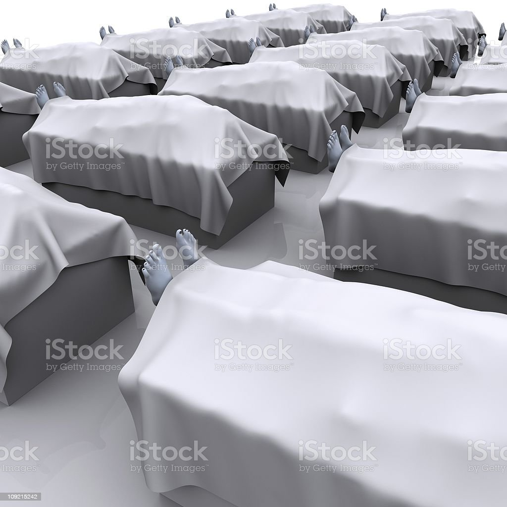 Many corpses covered in sheets  stock photo