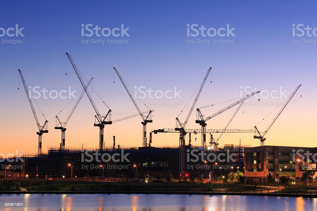 Many cranes at Australian construction site stock photo