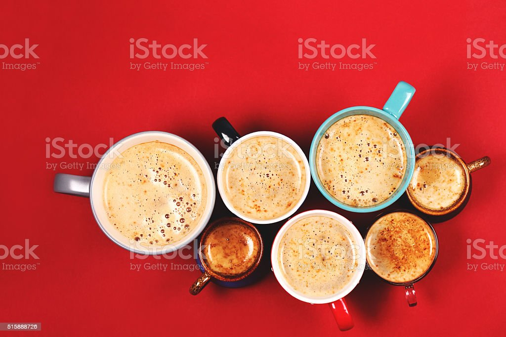 Many cups of coffee stock photo