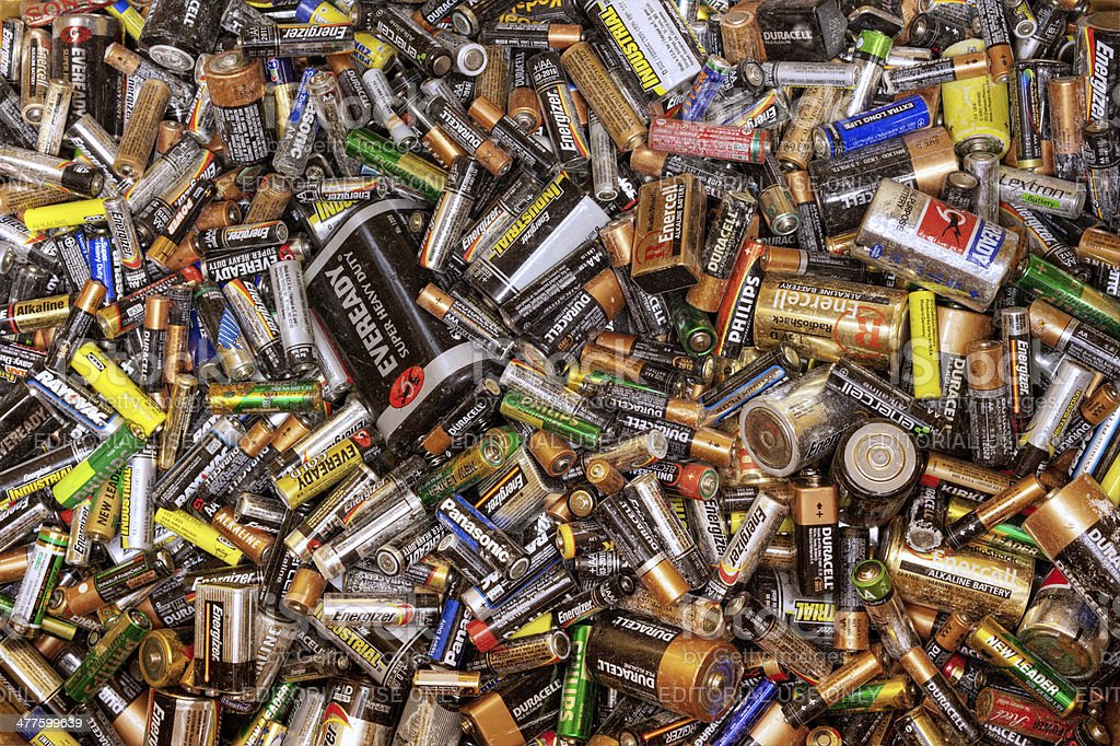 Many dead batteries stock photo