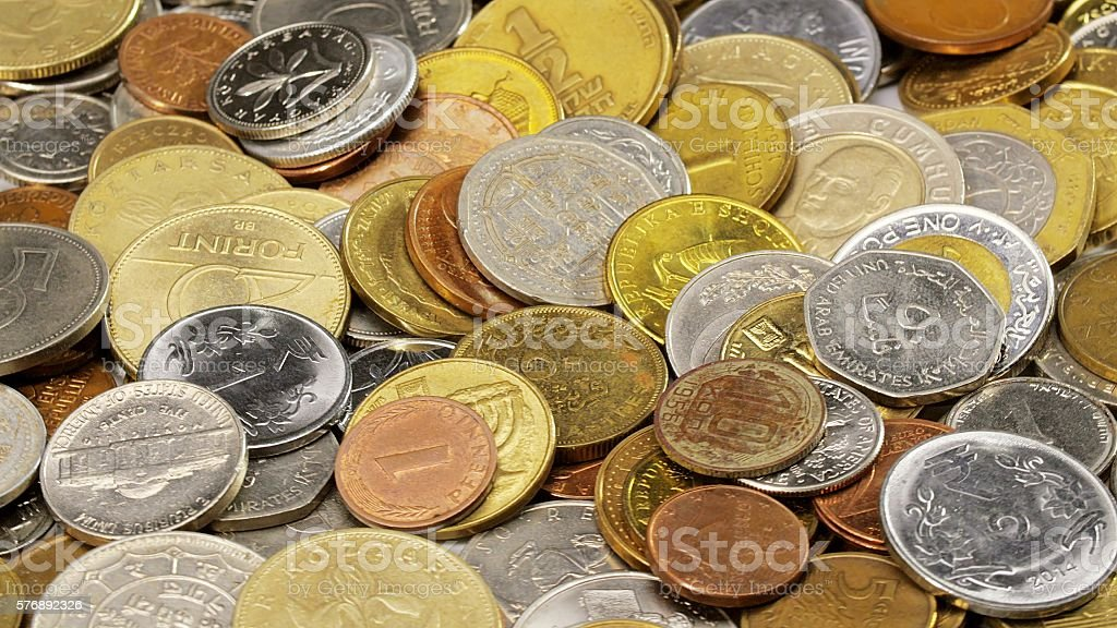 Many different coins set stock photo