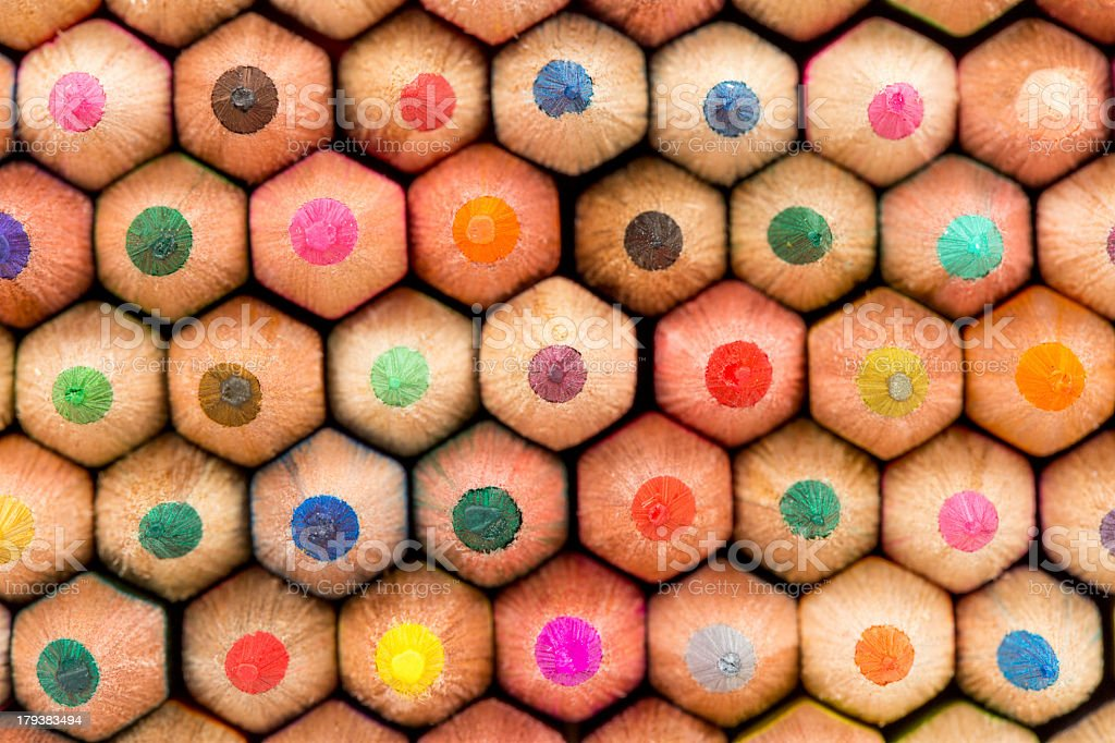 Many different colored pencils royalty-free stock photo