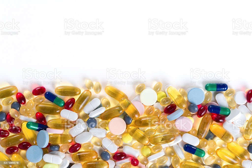 Many different colorfull medication and pills from above stock photo
