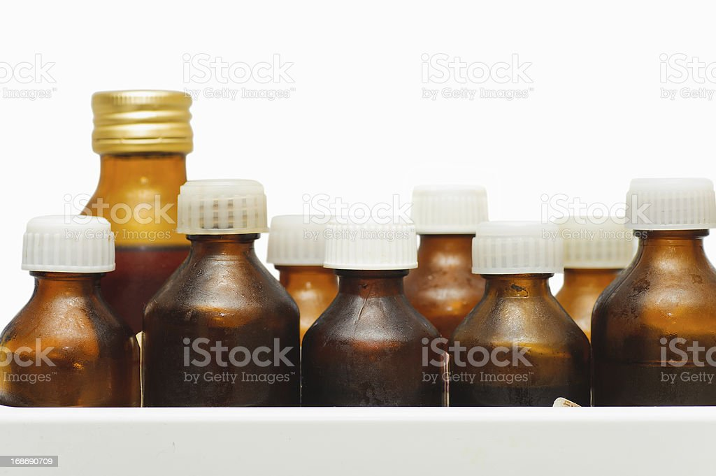 many different medical bottle on white background. concern for health royalty-free stock photo