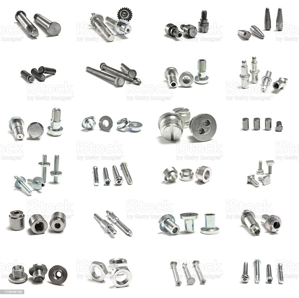 Many different nuts and bolts royalty-free stock photo