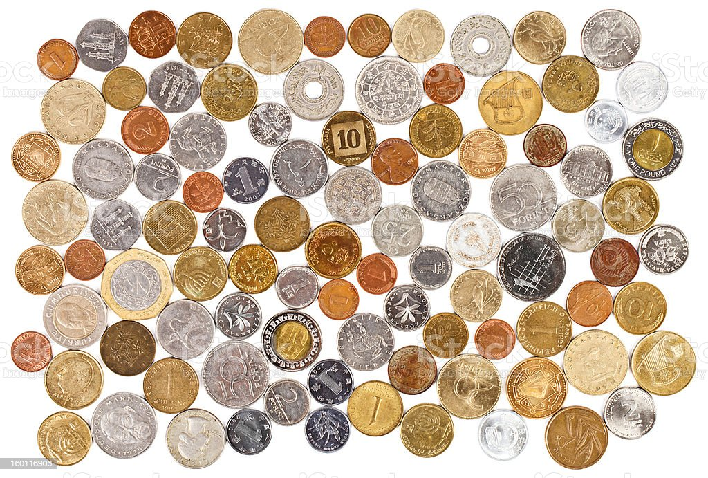 Many different old coins collection on white background royalty-free stock photo