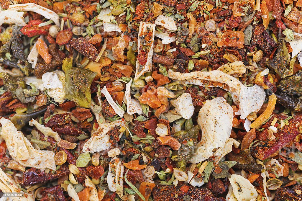 Many different spice background blend. Food texture royalty-free stock photo