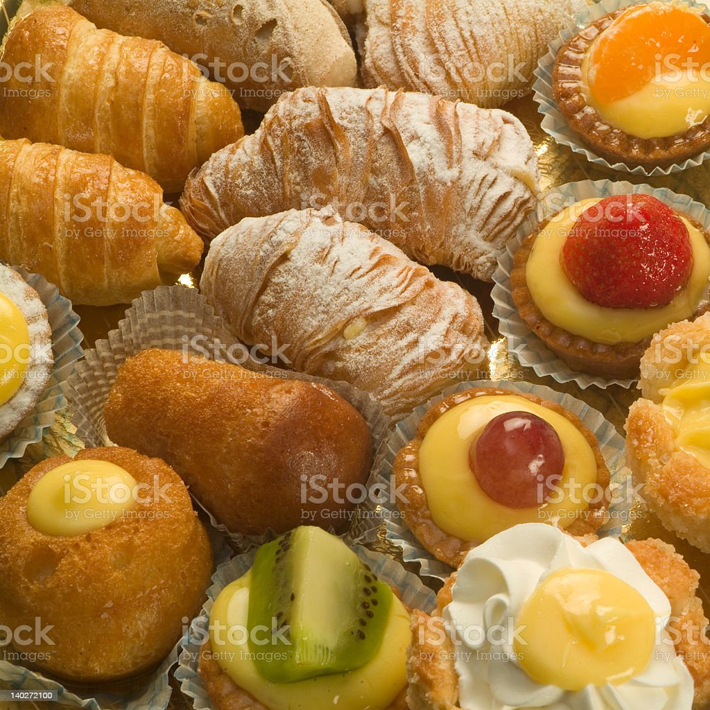 Many different tasty Italian pastries grouped together royalty-free stock photo