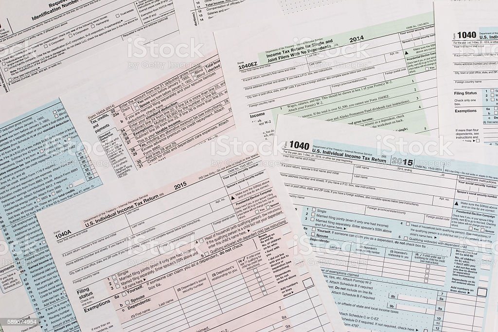 many different tax form stock photo