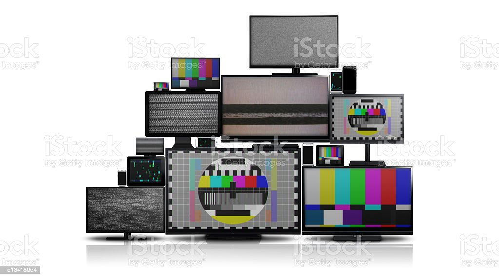 Many different types of screens with no signal stock photo