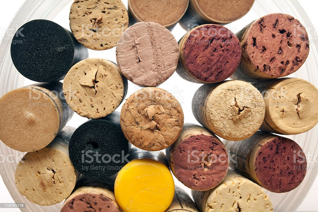 Many different wine corks in a plastic jar. royalty-free stock photo