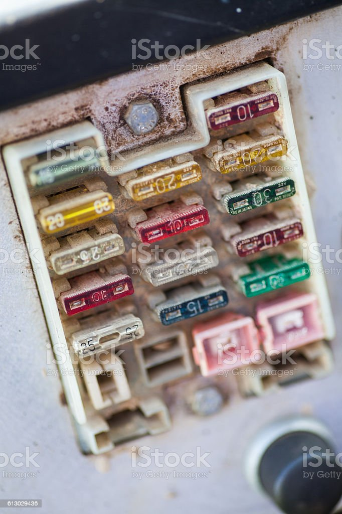 Many dirty fuses stock photo