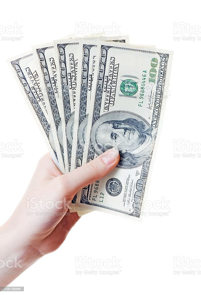 Many dollads in hand royalty-free stock photo