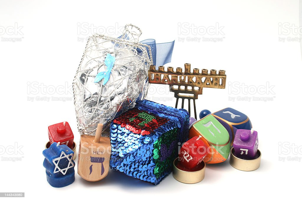 Many dreidals grouped together for Hannukah stock photo