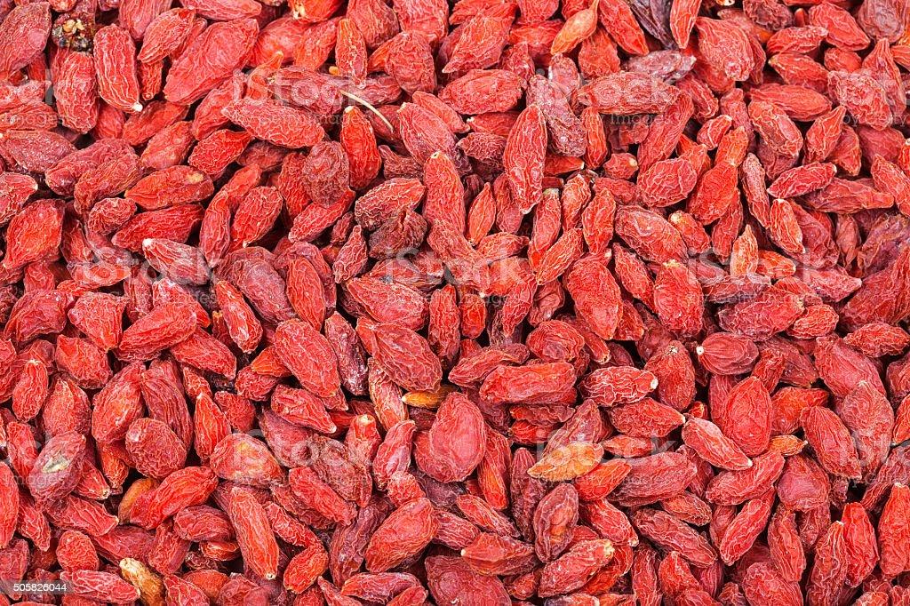 many dried red goji berries stock photo