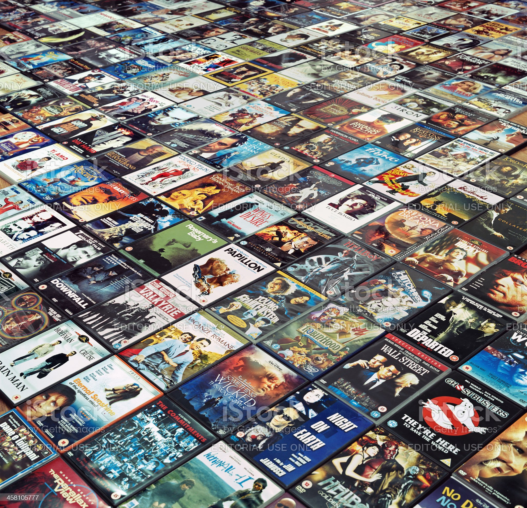 Many DVDs are arranged side by side on the floor royalty-free stock photo