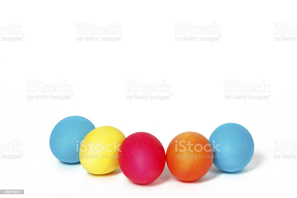 Many Easter eggs on a white background royalty-free stock photo