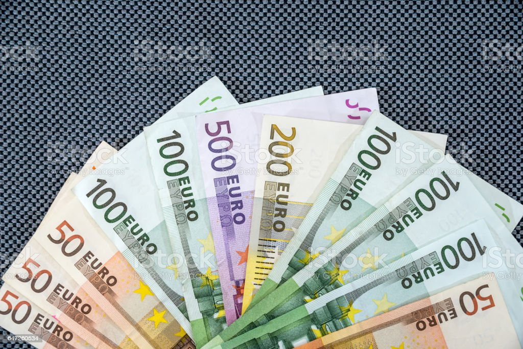 many Euro banknotes as  background stock photo
