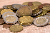 Many Euro coins useful as background