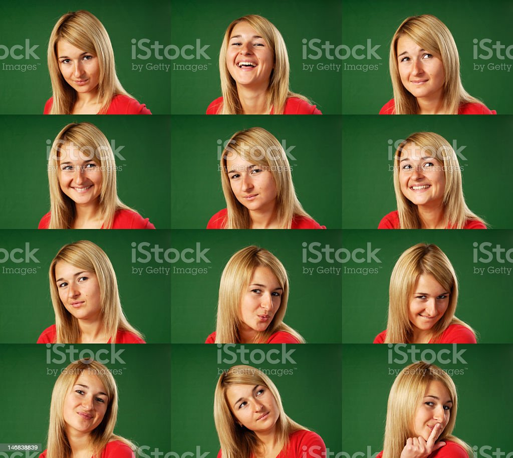Many faces (green background - easy to cut) royalty-free stock photo