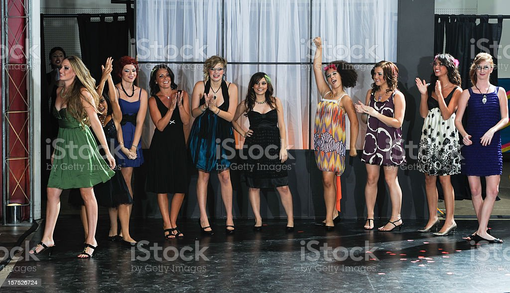 Many Fashion Models Celebrate Great Show stock photo