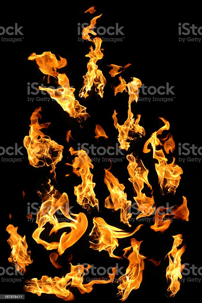 Many fire flame options against black. royalty-free stock photo