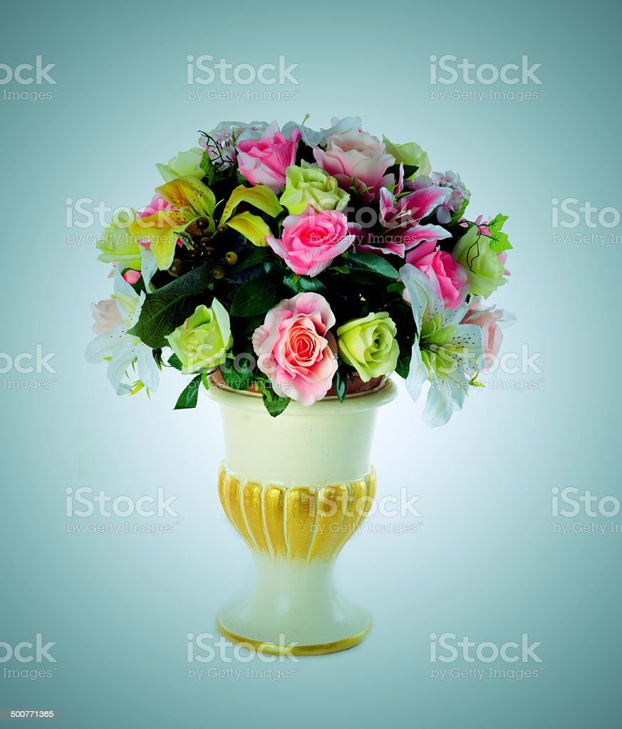 many flower and flower pot stock photo