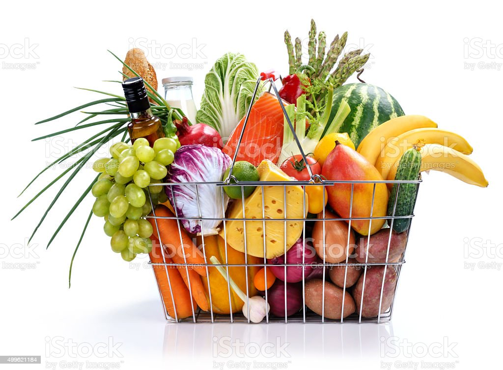 Many foods in market basket stock photo