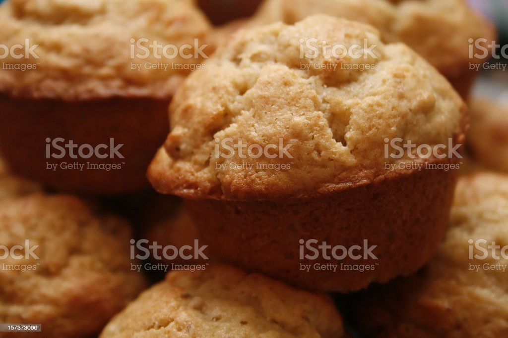 Many fresh baked banana muffins stock photo