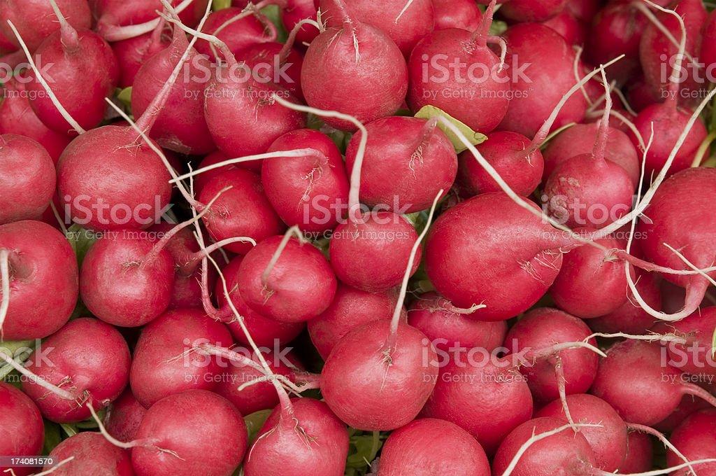 Many fresh radishes at a market stall stock photo