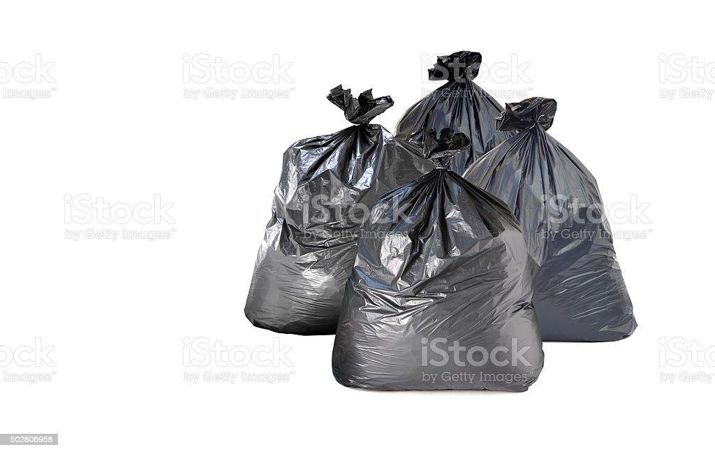 many garbage bag on white background stock photo