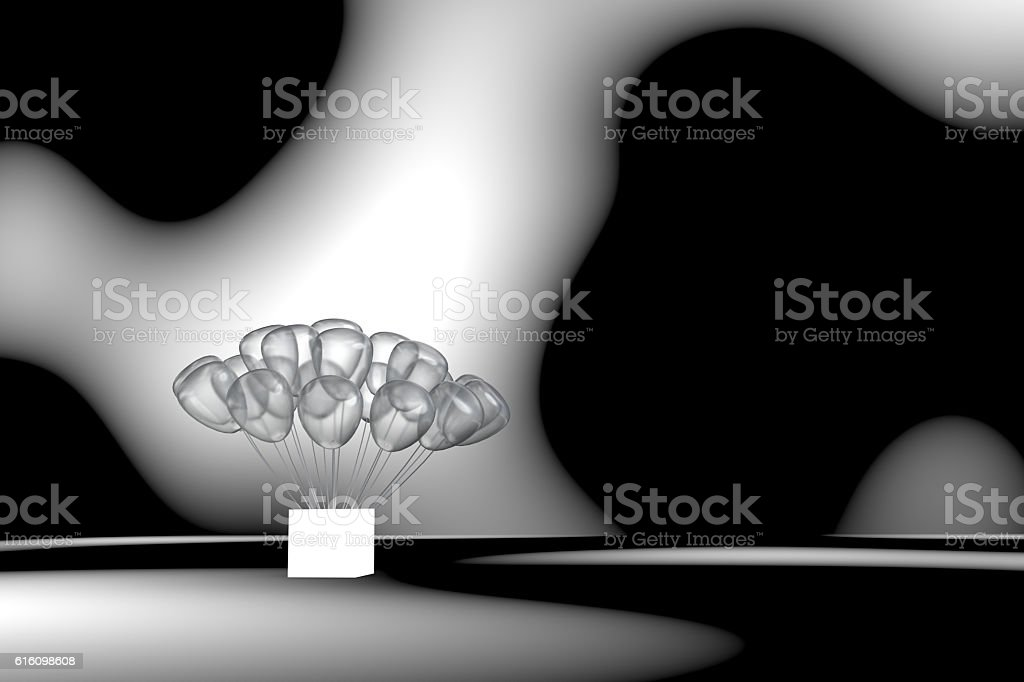 many gauzy balloon planting on a white light box stock photo